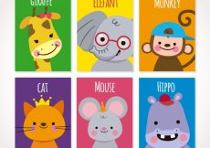 Free vector Cute set of cards with smiley animals #20459