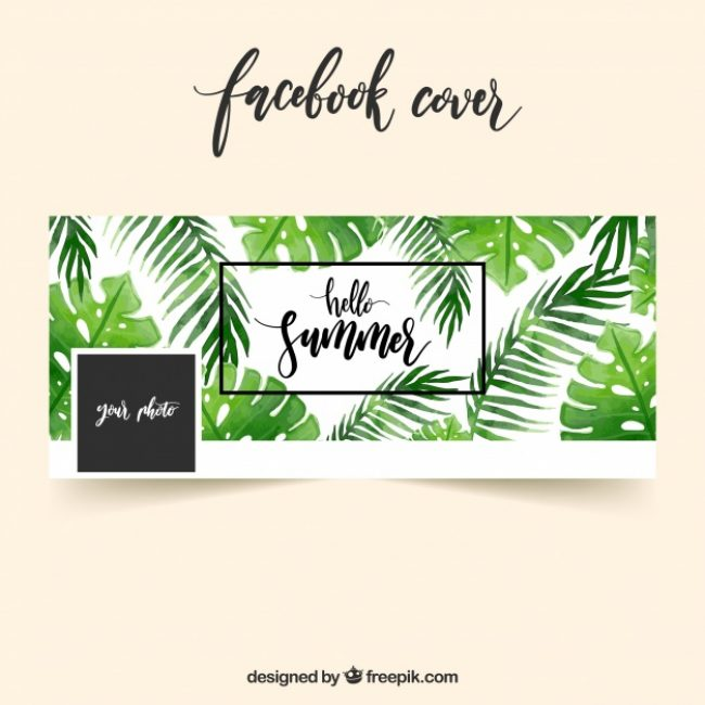 Free vector Facebook cover with leaves of watercolor palms #19655