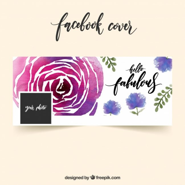 Free vector Facebook cover with watercolor rose #19653