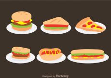 Free vector Fast Food On Plate Vectors #19382