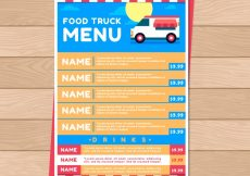 Free vector Flat food truck menu with sun and blue sky #20879