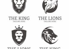 Free vector Four lion logos, black and white #21568