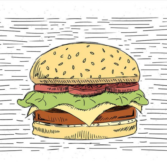 Free vector Free Hand Drawn Vector Burger Illustration #19668