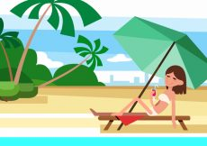 Free vector Free Summer Beach Vector Illustration With Character #20930
