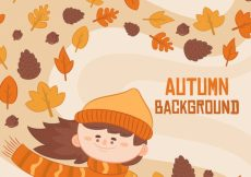 Free vector Fun autumn background with smiley girl #22785