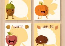 Free vector Fun collection of autumn cards with smiley elements #20595