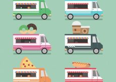 Free vector Fun collection of flat food trucks #23235