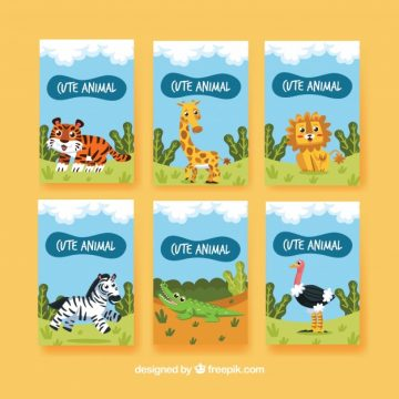 Free vector Fun pack of cards with animals in the nature #20469