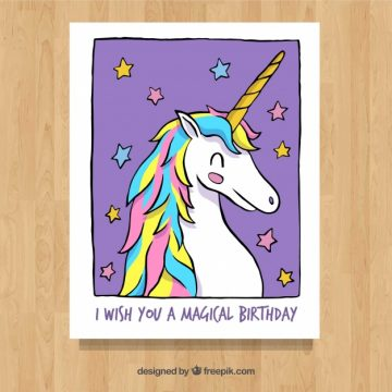 Free vector Hand drawn card with smiley unicorn and stars #19665