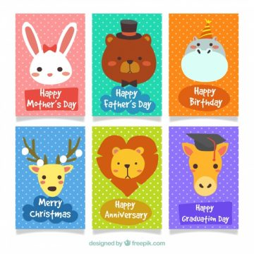 Free vector Happy set of colorful animal cards #20435