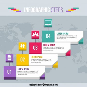 Free vector Infographic template with world map #23217