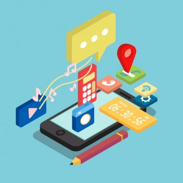 Free vector Isometric mobile phone apps design #21874