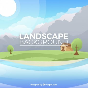 Free vector Landscape background of house with trees #20223