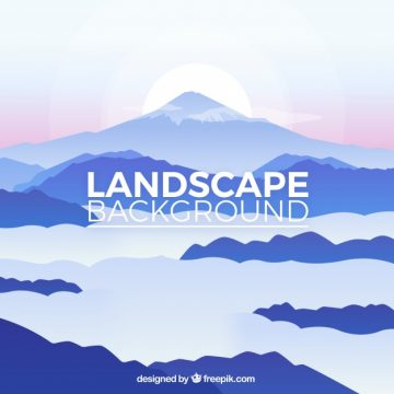 Free vector Landscape background with mountains and clouds in blue tones #20219