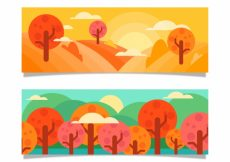 Free vector Landscape banners with trees in flat design #20501