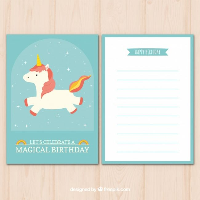 Free vector Lovely birthday card with fantastic unicorn #19669
