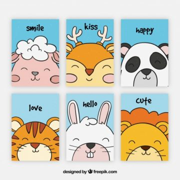 Free vector Lovely collection of cards with smiley animals #20447