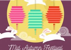Free vector Middle autumn festival, scene with three rabbits #21750
