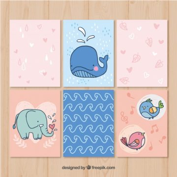 Free vector Modern pack of hand drawn animal cards #20437