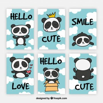 Free vector New collection of cards with fun panda bear #20457