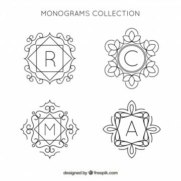 Free vector Pack of hand drawn monograms  #19956
