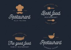 Free vector Pack of lovely restaurant logos with vintage style #19175