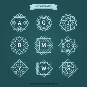 Free vector Pack of monograms with lines #19968