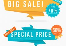 Free vector Pack of origami offer banners #19330