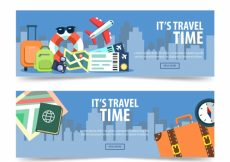 Free vector Pack of travel time banners in flat design #21826