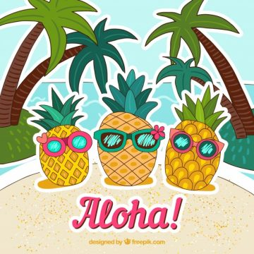 Free vector Pineapple background with hand drawn sunglasses #19848