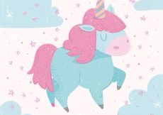 Free vector Pretty clouds and unicorn background in soft tones #19603