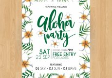 Free vector Pretty hawaiian party poster with watercolor flowers #21232