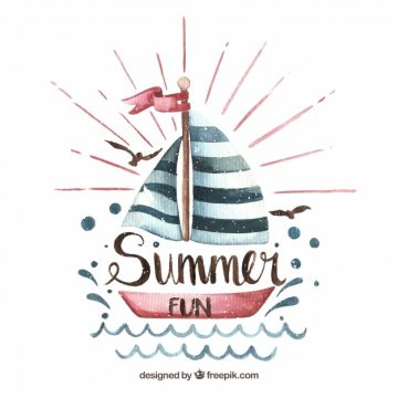 Free vector Pretty watercolor boat summer background #21896