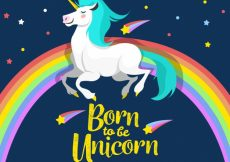 Free vector Rainbow and unicorn background with message #19617