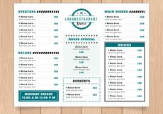 Free vector Restaurant menu with many sections #19067