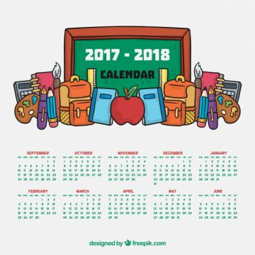 Free vector School calendar with blackboard and hand drawn materials #22923