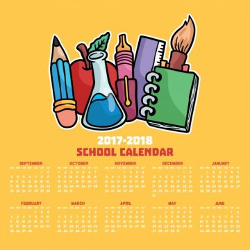 Free vector School calendar with hand drawn materials #22921