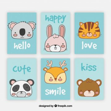 Free vector Set of cards with hand drawn animal faces #20443