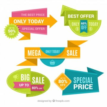 Free vector Set of colorful discount stickers #19811