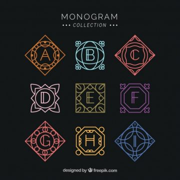 Free vector Set of geometric colored monograms  #22687