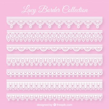 Free vector Set of lace borders in flat design #20359