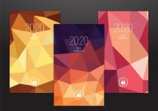 Free vector Set of polygonal mobile wallpapers #20281