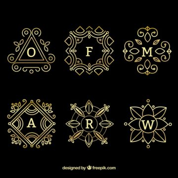 Free vector Set of six gold monograms #22689