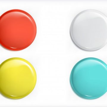 Free vector Set of vector 3D design elements, glossy icons, buttons, badge blue, red, yellow and white isolated #23125