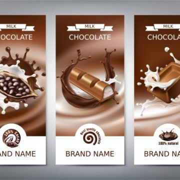 Free vector Set of vector 3D realistic illustrations, banners with splashes of melted chocolate and milk #23103