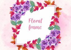 Free vector Square floral frame with cute flowers #23183