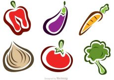 Free vector Stylish Vegetable Food Icons #20258