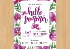 Free vector Summer party poster with purple watercolor flowers #21236