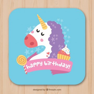 Free vector Unicorn birthday card with sweets #20148