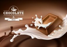Free vector Vector 3D splashes of melted chocolate and milk with falling pieces of chocolate bars. #23099